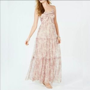 BHLDN Adrianna Papell Floral Ruched Tulle Gown